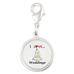 I Love Weddings Silver Round Charm