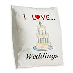 I Love Weddings Burlap Throw Pillow