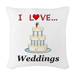 I Love Weddings Woven Throw Pillow