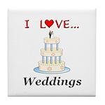 I Love Weddings Tile Coaster