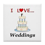 I Love Weddings Tile Coaster
