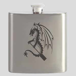 Dragon with paddle logo Flask