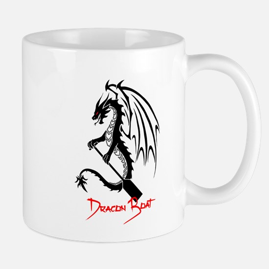 Dragon Boat red Text Mugs