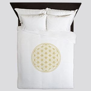 Flower Of Life Gold Queen Duvet