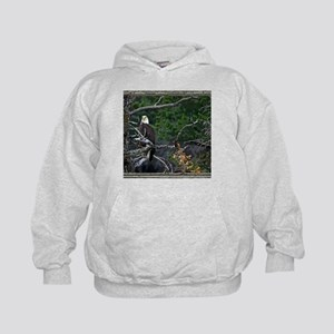 Old Cabin Window Bald Eagle Kids Hoodie