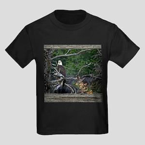 Old Cabin Window Bald Eagle Kids Dark T-Shirt