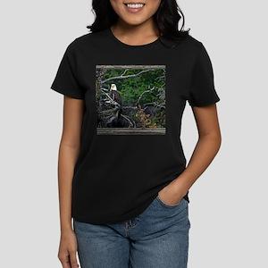 Old Cabin Window Bald Eagle Women's Dark T-Shirt