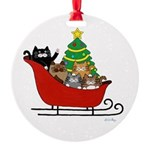 5 Cats Sleigh & Christmas Tree Round Ornament