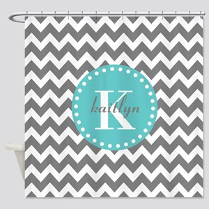 Gray And Turquoise Chevron Custom M Shower Curtain