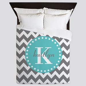 Gray and Turquoise Chevron Custom Mono Queen Duvet