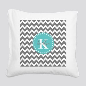 Gray and Turquoise Chevron Cu Square Canvas Pillow