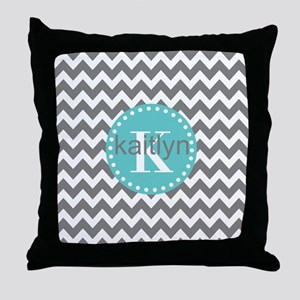 Gray and Turquoise Chevron Custom Mon Throw Pillow