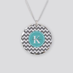Gray and Turquoise Chevron C Necklace Circle Charm