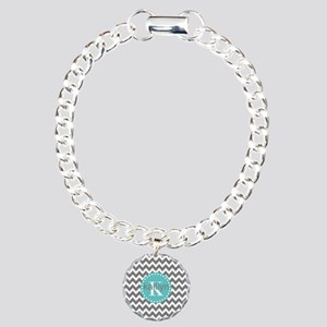 Gray and Turquoise Chevr Charm Bracelet, One Charm