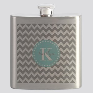 Gray and Turquoise Chevron Custom Monogram Flask