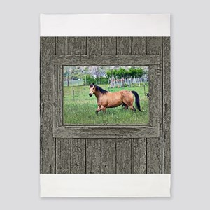 Old window horse 2 5'x7'Area Rug