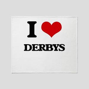 I Love Derbys Throw Blanket