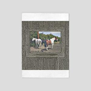 Old window horses 5'x7'Area Rug