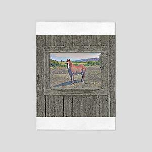 Old window horse 3 5'x7'Area Rug