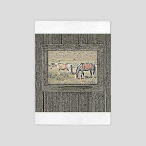 Old window horses 2 5'x7'Area Rug