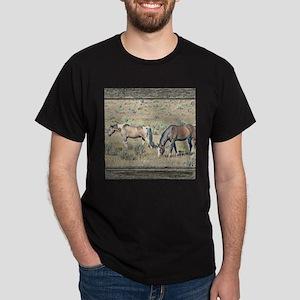 Old window horses 2 Dark T-Shirt