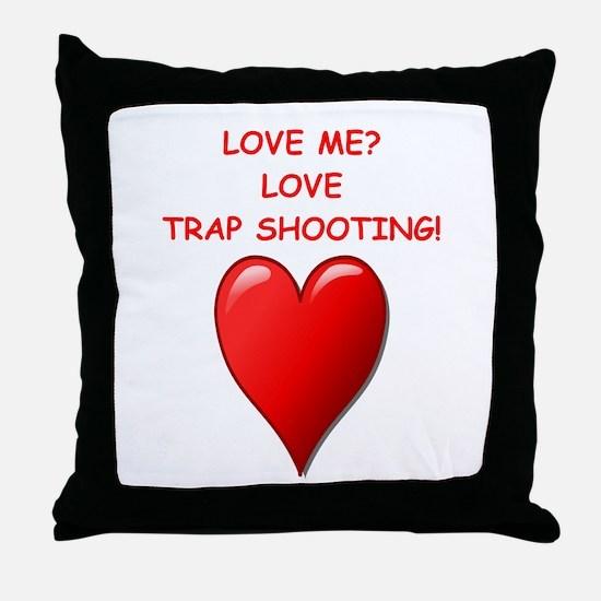 i love trap shooting Throw Pillow