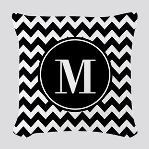 Black and White Chevron with C Woven Throw Pillow