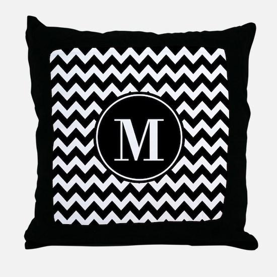 Black and White Chevron with Custom M Throw Pillow