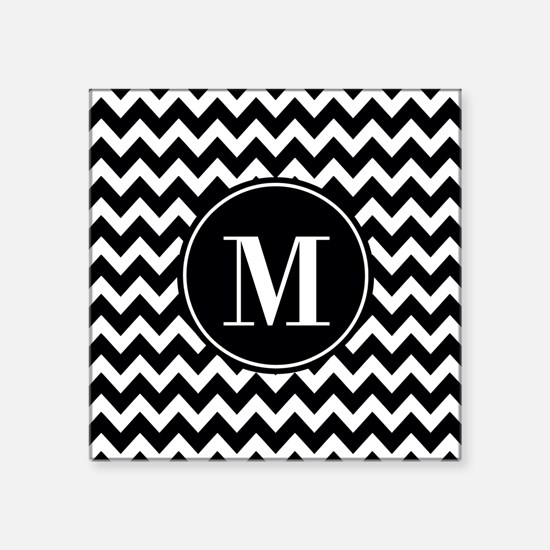 """Black and White Chevron wit Square Sticker 3"""" x 3"""""""