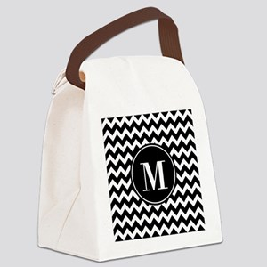 Black and White Chevron with Cust Canvas Lunch Bag