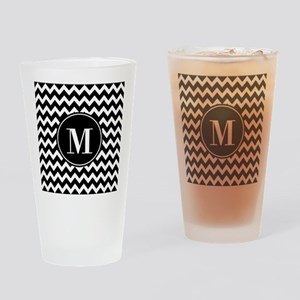 Black and White Chevron with Custom Drinking Glass
