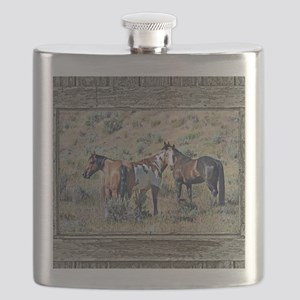 Old window horses 3 Flask