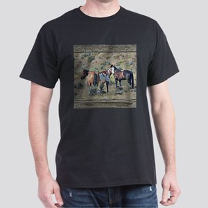 Old window horses 3 Dark T-Shirt