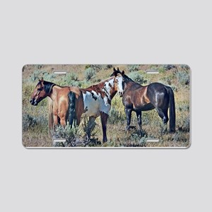 Old window horses 3 Aluminum License Plate
