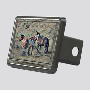 Old window horses 3 Rectangular Hitch Cover