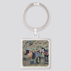 Old window horses 3 Square Keychain