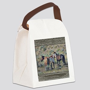 Old window horses 3 Canvas Lunch Bag