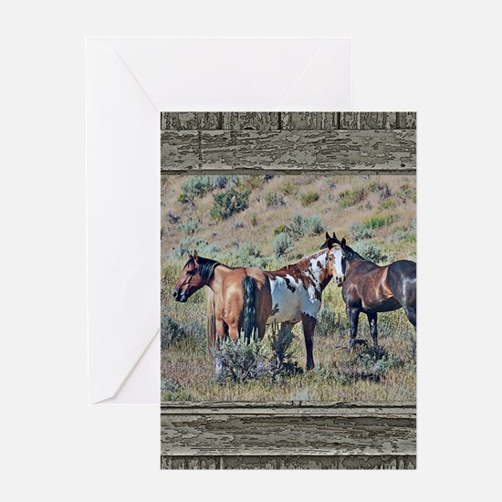 Old window horses 3 Greeting Card