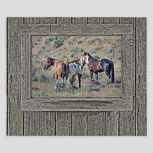 Old window horses 3 King Duvet