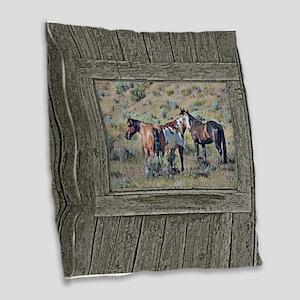 Old window horses 3 Burlap Throw Pillow