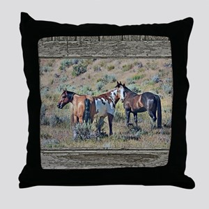 Old window horses 3 Throw Pillow