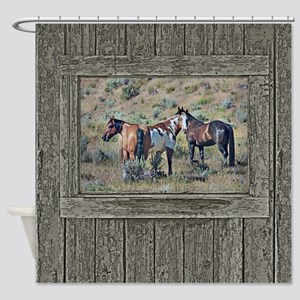 Old Window Horses 3 Shower Curtain