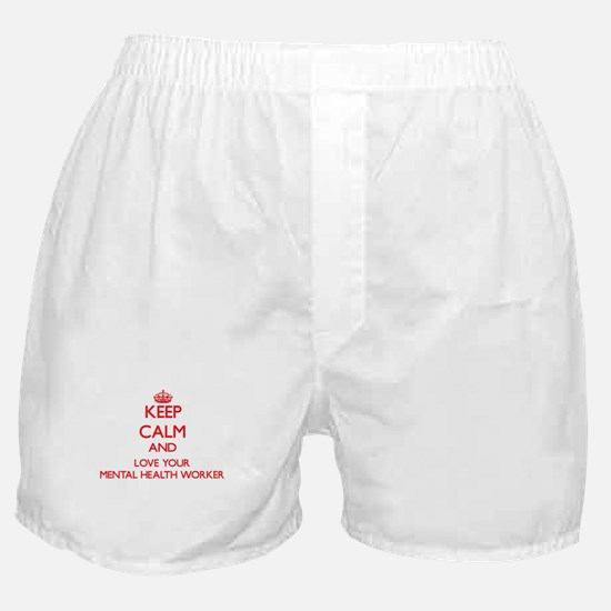 Keep Calm and love your Mental Health Boxer Shorts