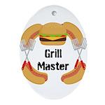 Grill Master Hamburgers Hot Dots Ornament (Oval)