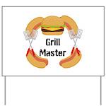 Grill Master Hamburgers Hot Dots Yard Sign