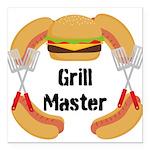 Grill Master Hamburgers Hot Dots Square Car Magnet