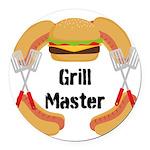 Grill Master Hamburgers Hot Dots Round Car Magnet