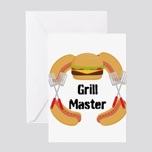 Grill Master Hamburgers Hot Dots Greeting Cards