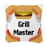 Grill Master Hamburgers Hot Dots Woven Throw Pillo