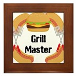 Grill Master Hamburgers Hot Dots Framed Tile